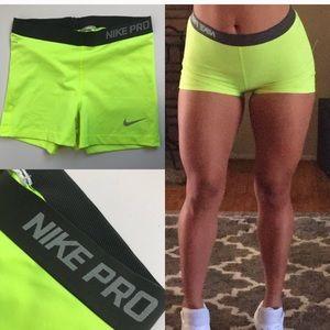 "Nike Pro 3"" Neon Yellow Training Shorts"